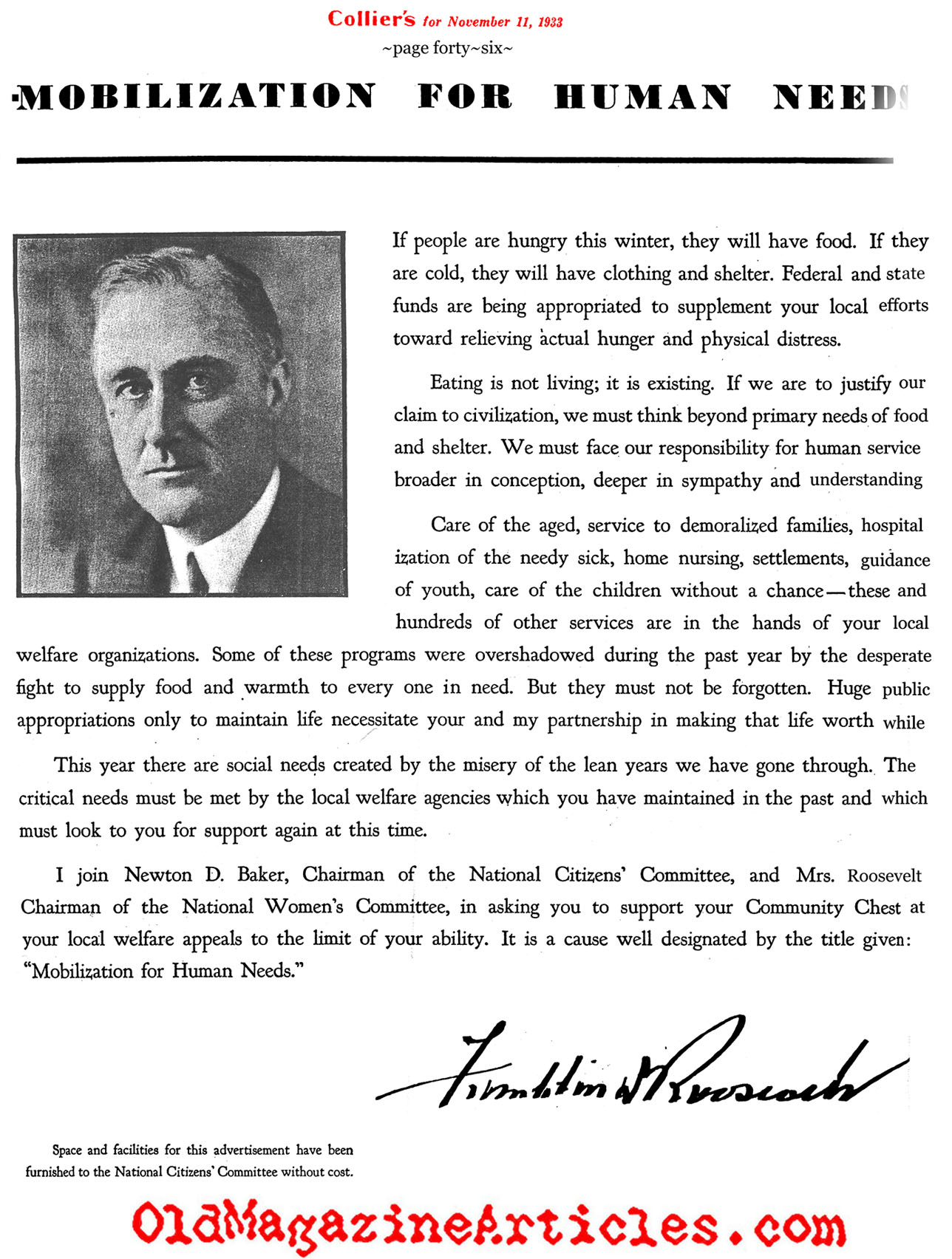 FDR's Sense of Charity (A Magazine Advertisement)