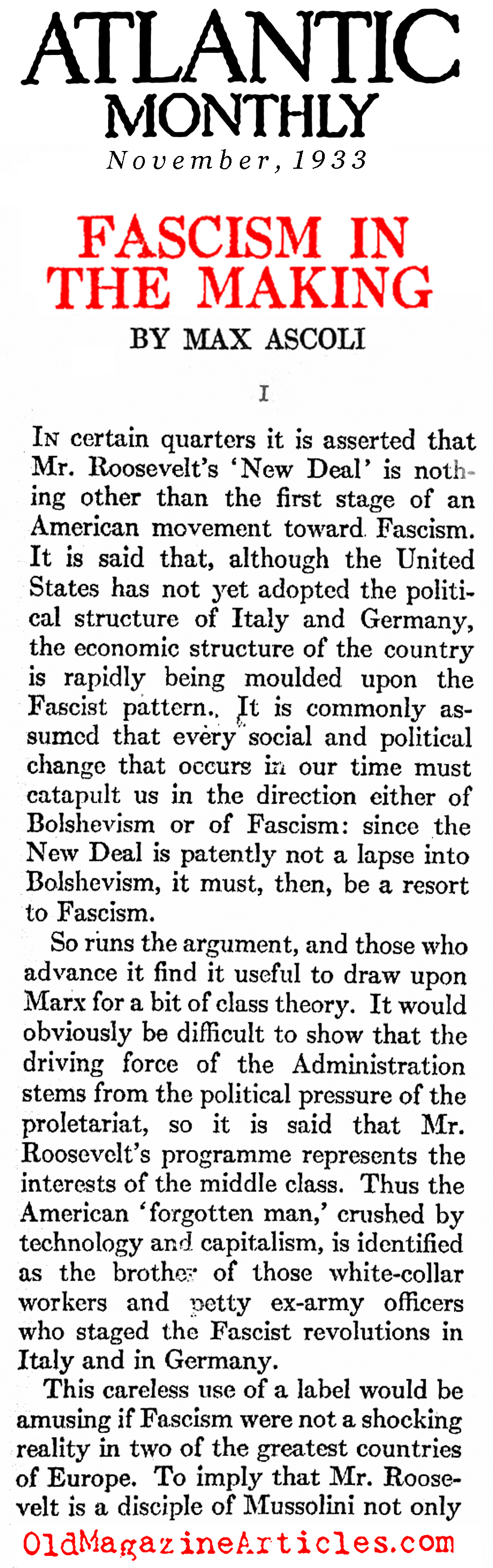 The New Deal Was Not Fascist  (The Atlantic Monthly, 1933)