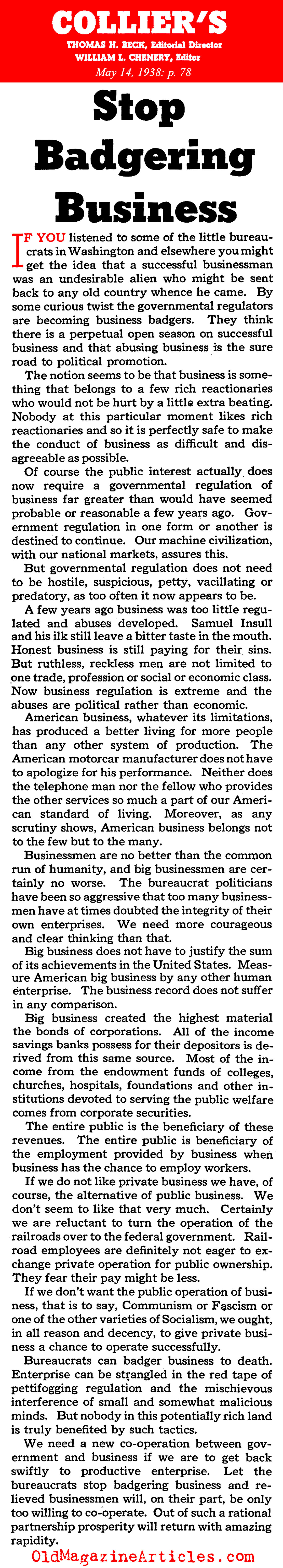 He was Too Tough on Businesses (Collier's Magazine, 1938)
