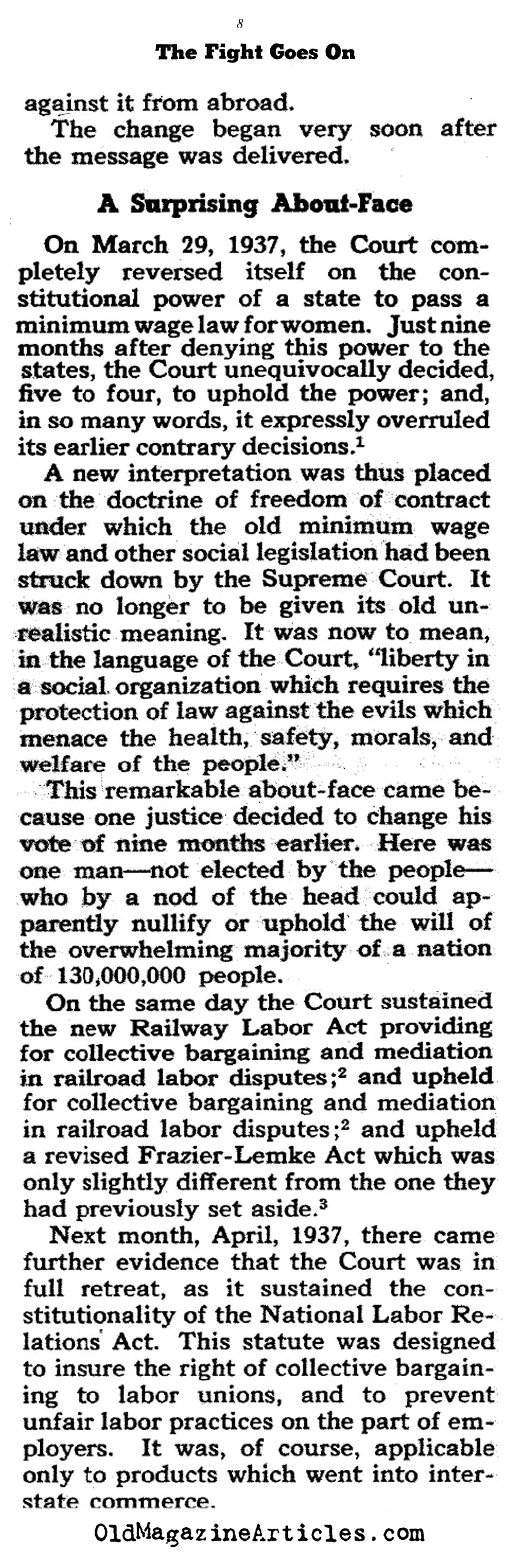 FDR on His Efforts to Pack the Court (Collier's Magazine, 1941)