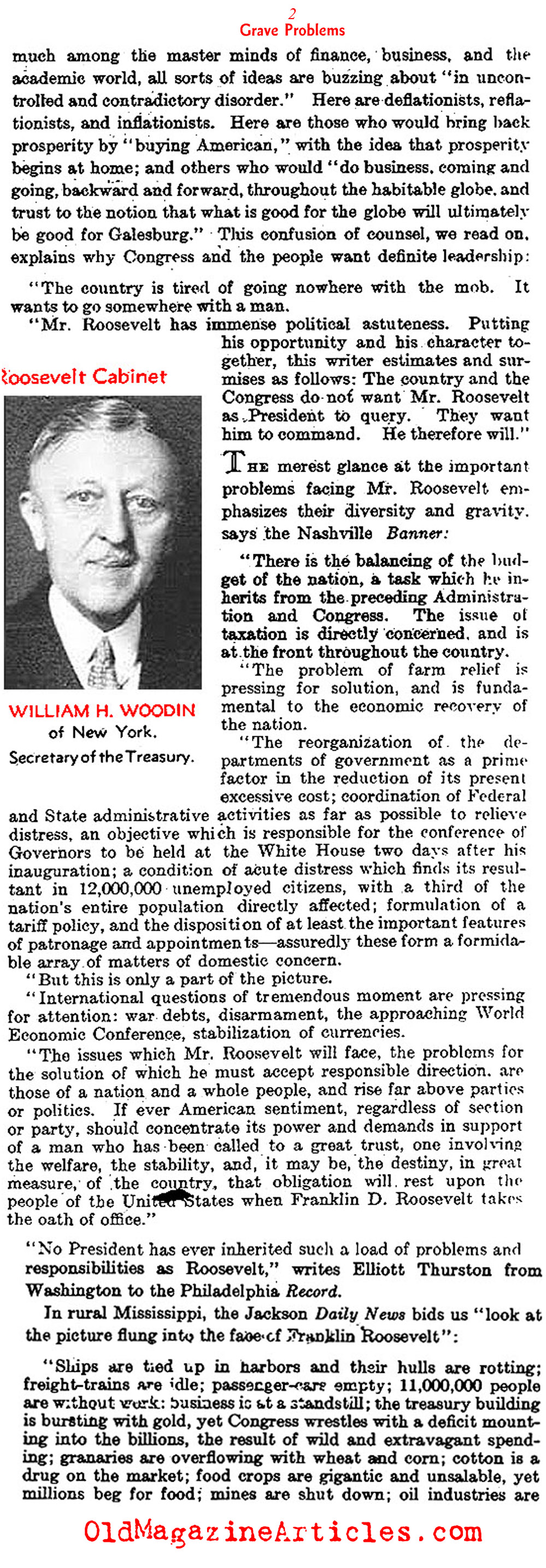 Roosevelt Takes Charge... (The Literary Digest, 1933)