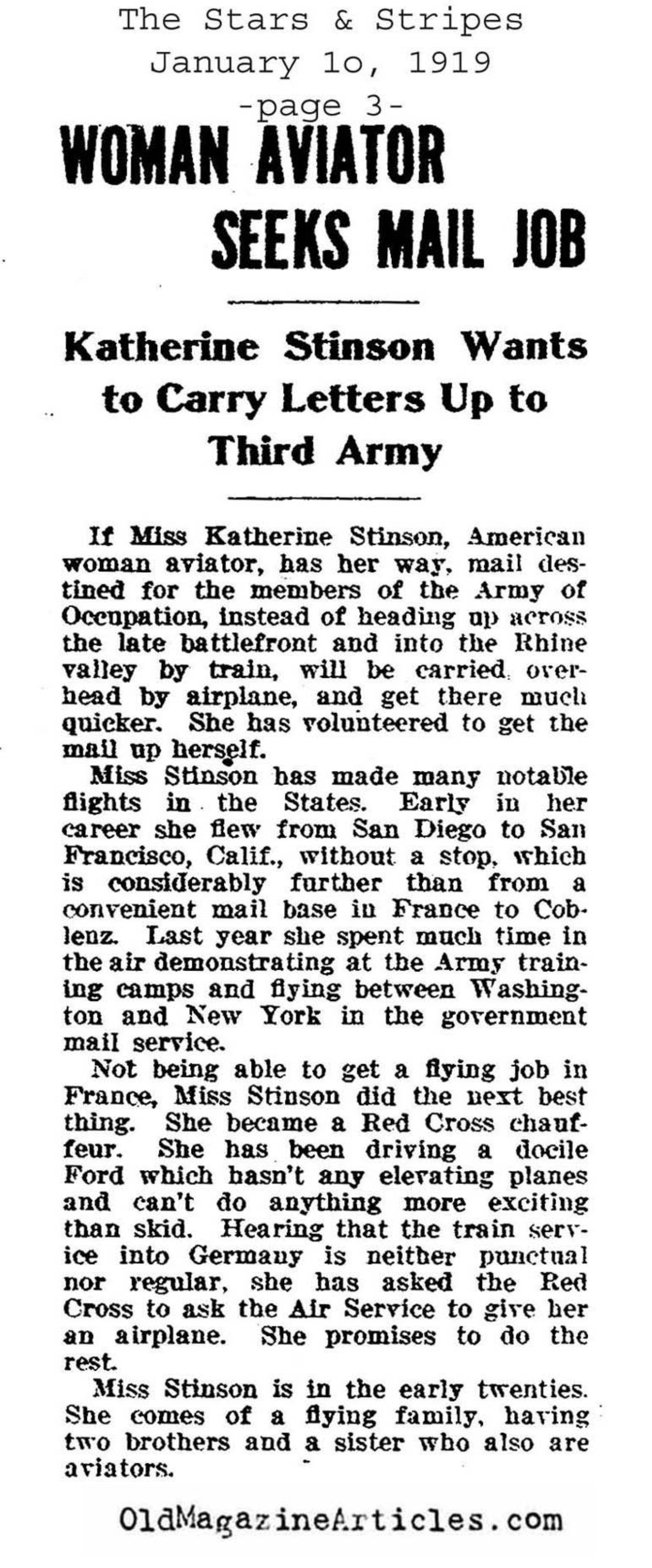 Katherine Stinson Offers Her Services to the Army  (The Stars and Stripes, 1919)