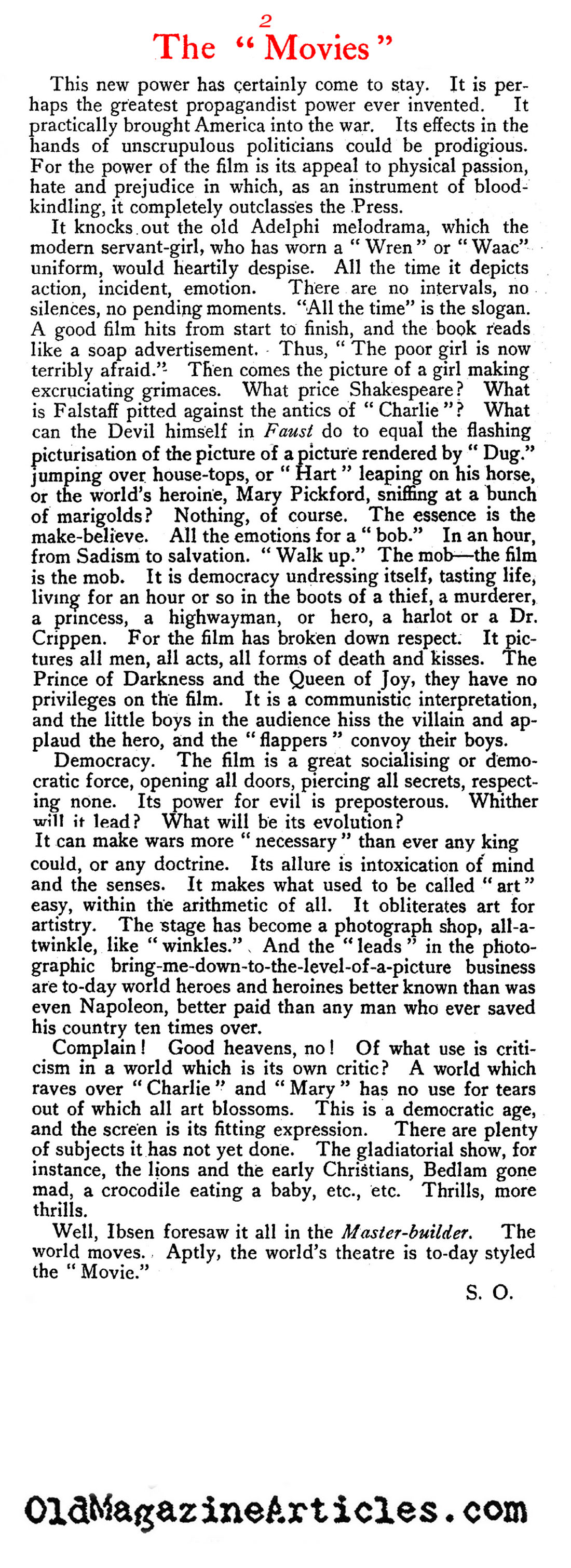 More Nasty Criticism About Silent Films (English Review, 1922)