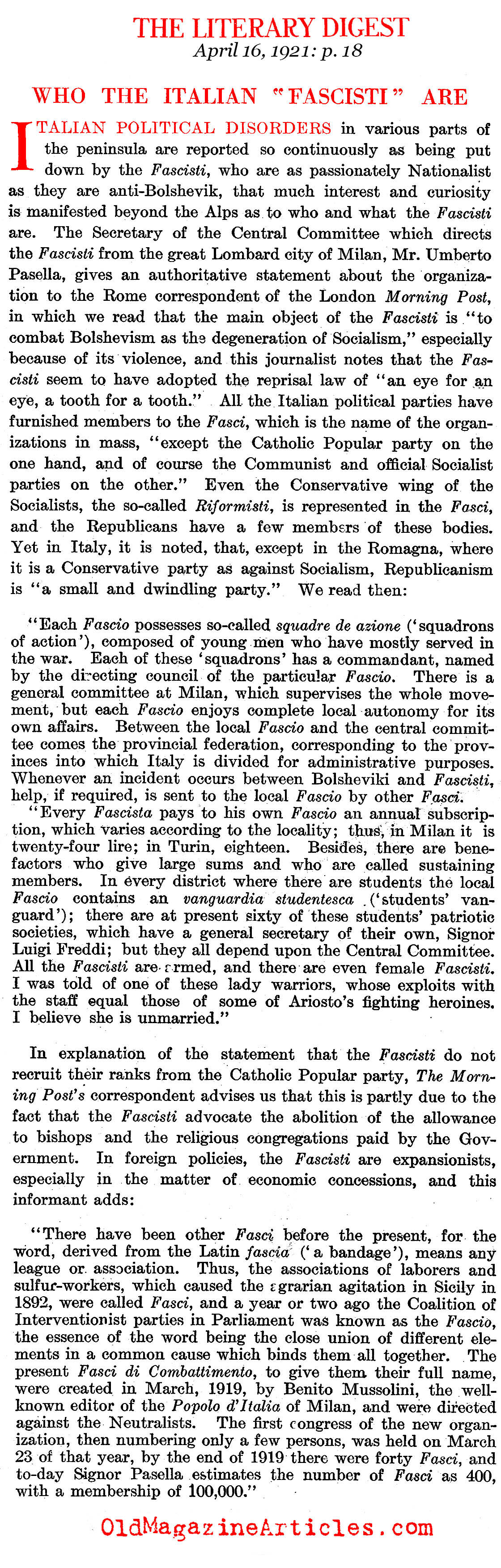 Who Are the Italian Fascists? (The Literary Digest, 1921)