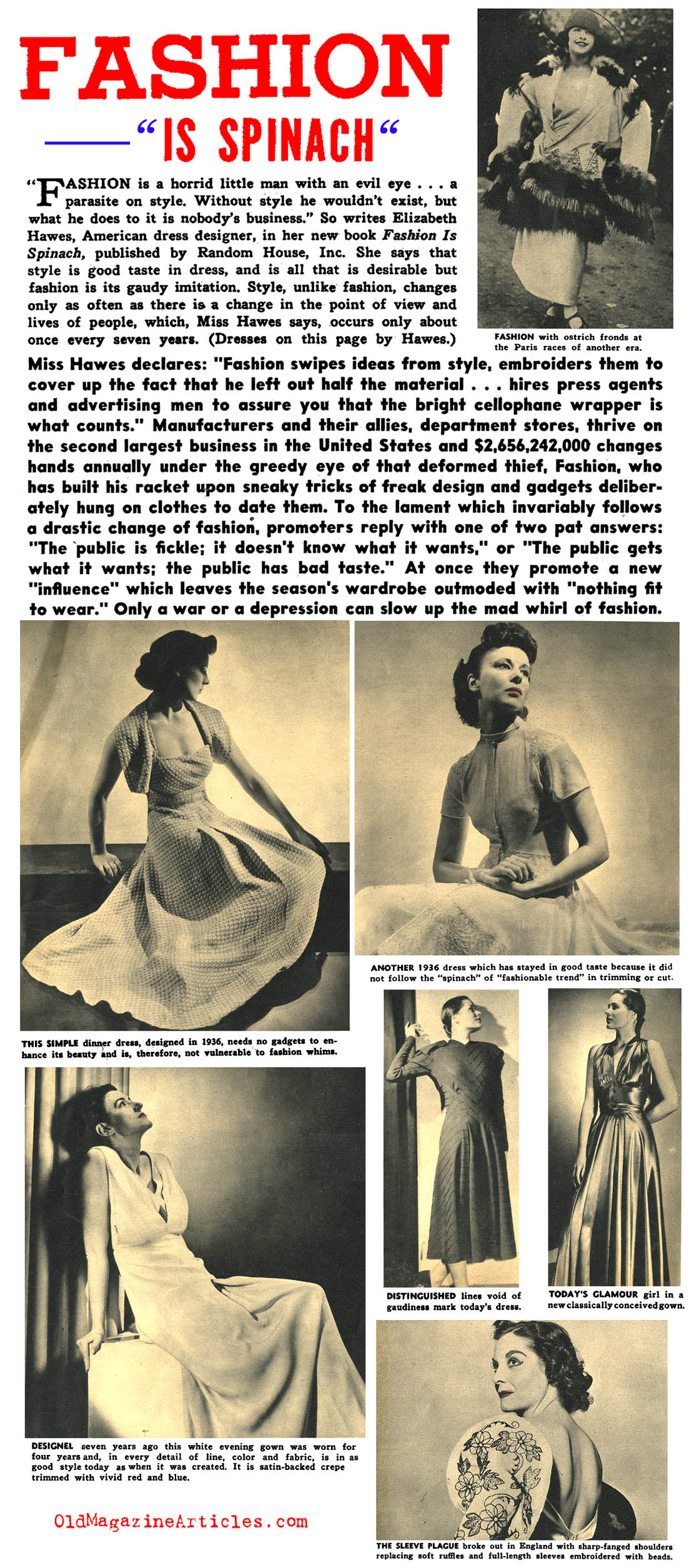 ''Fashion is Spinach'' (Focus Magazine, 1938)