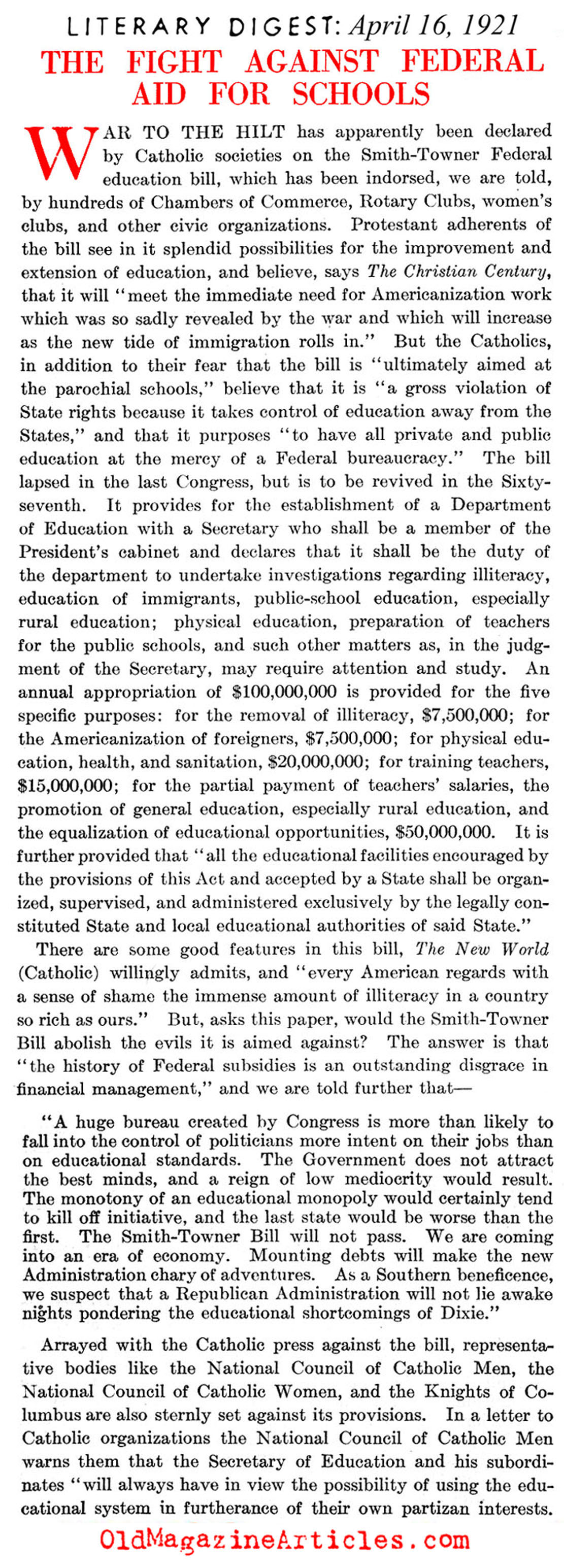 Should the Federal Government Fund Schools at All? (Literary Digest, 1921)