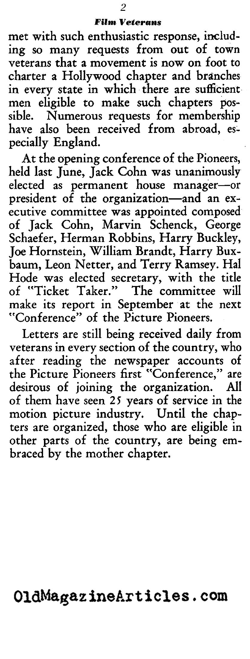 The Founders of the Hollywood Film Colony Gather Together<BR>(Film Daily, 1939)