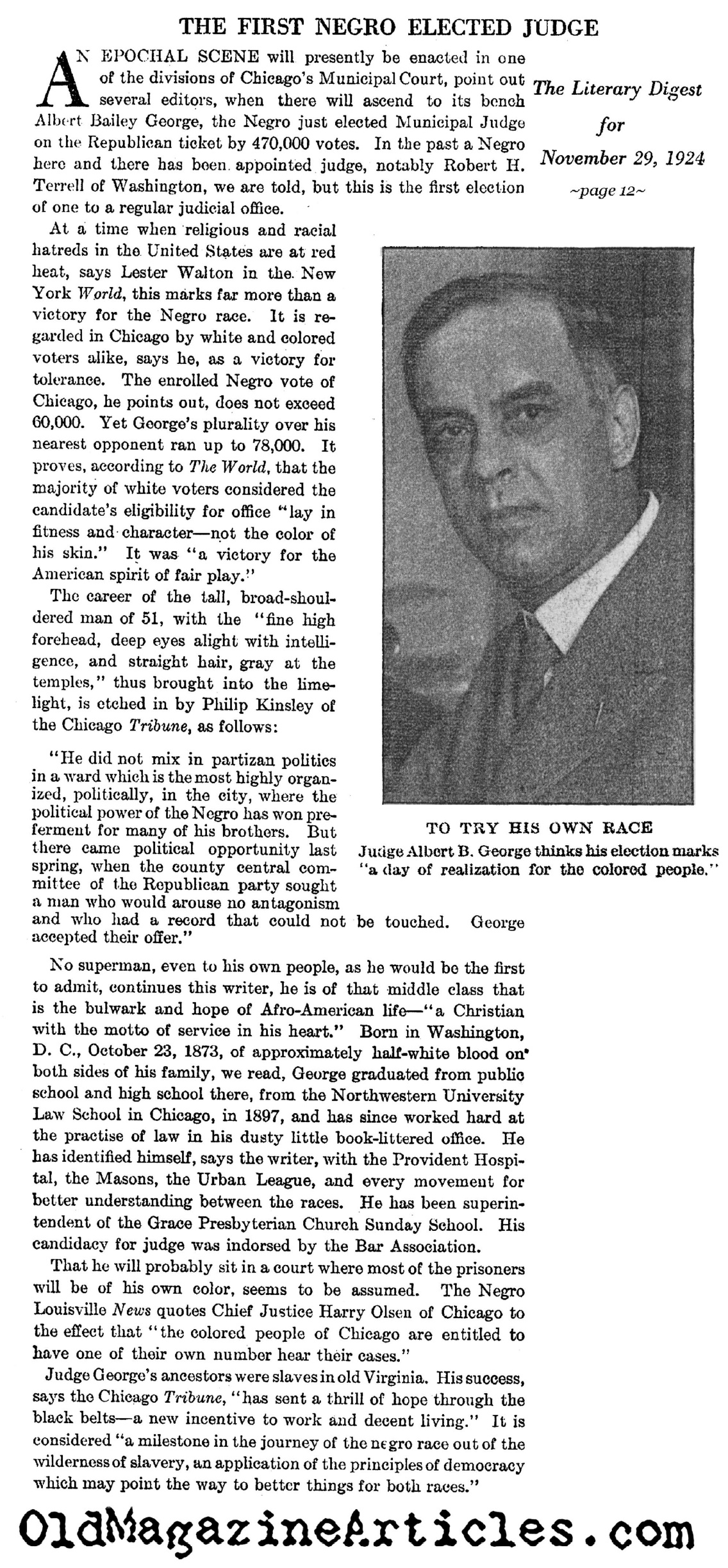 The First Elected African-American Judge (Literary Digest, 1924)