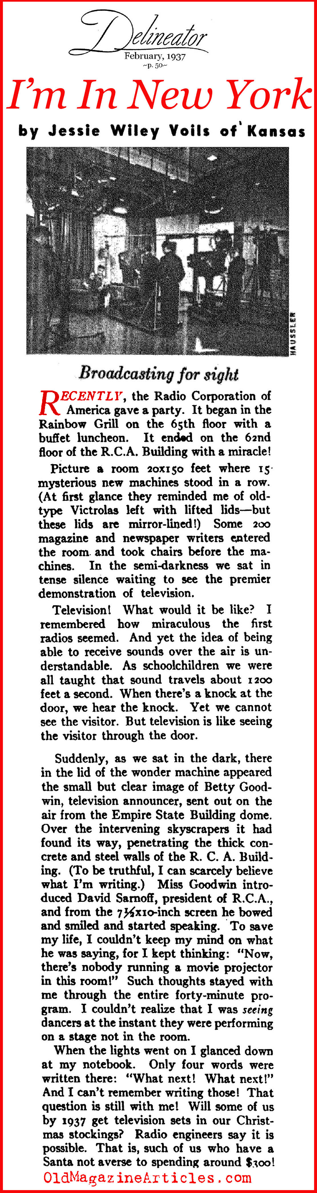 Seeing the ''Wonder Machine'' for the First Time... (Delineator Magazine, 1937)