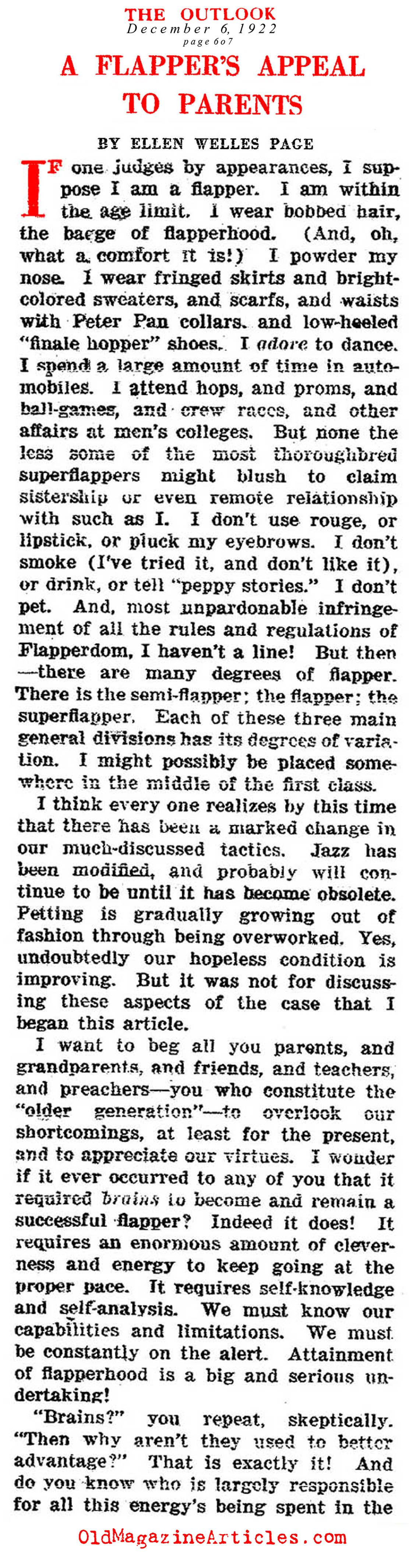 ''A Flapper's Appeal to Parents''  (The Outlook, 1922)