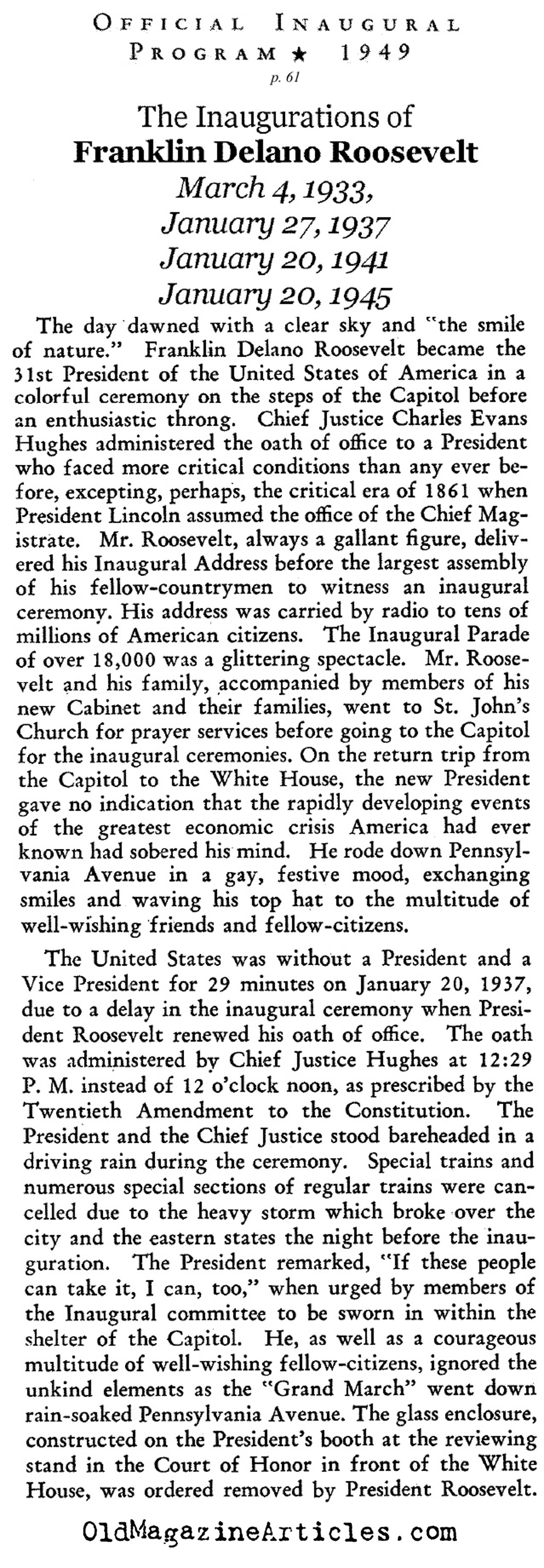 The Four Inaugurations of F.D.R. (from the Truman Inaugural Program, 1949)