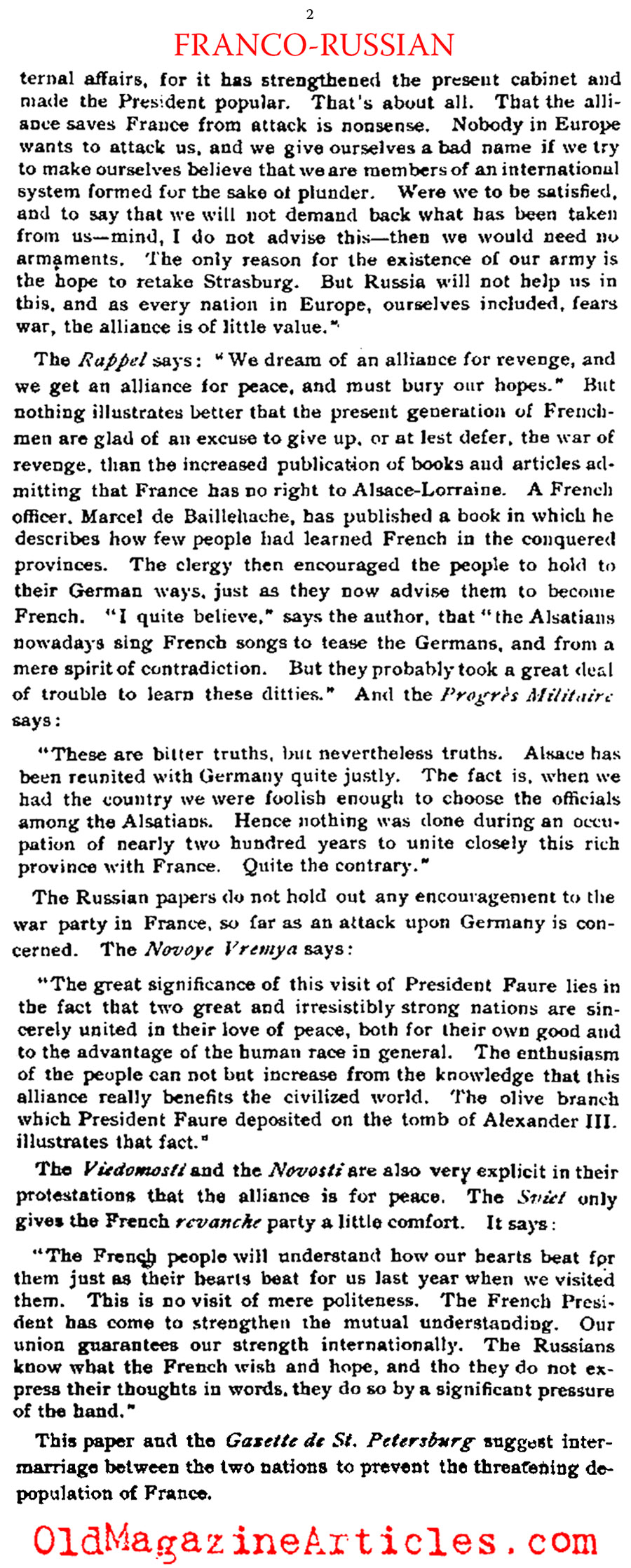 The Franco-Russian Alliance (Literary Digest, 1897)