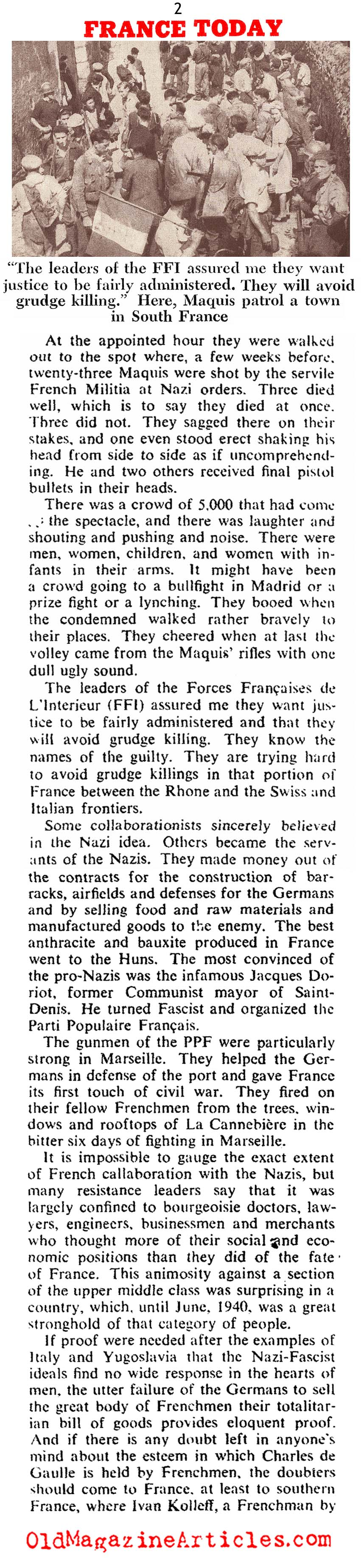 The Execution of French Traitors (Collier's Magazine, 1944)