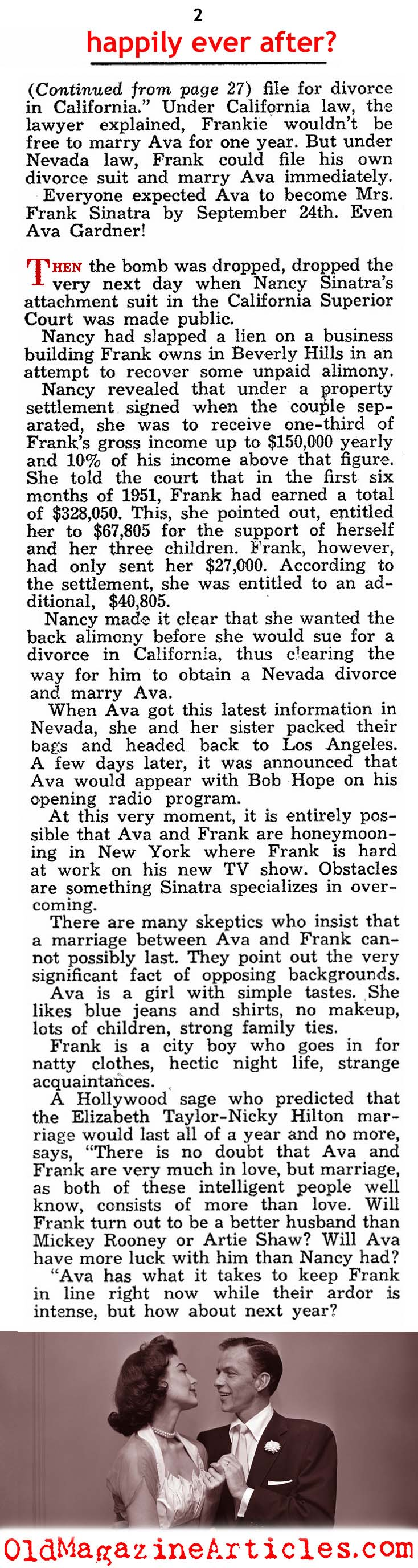 Frank Sinatra and Ava Gardner To  Wed  (Modern Screen, 1951)