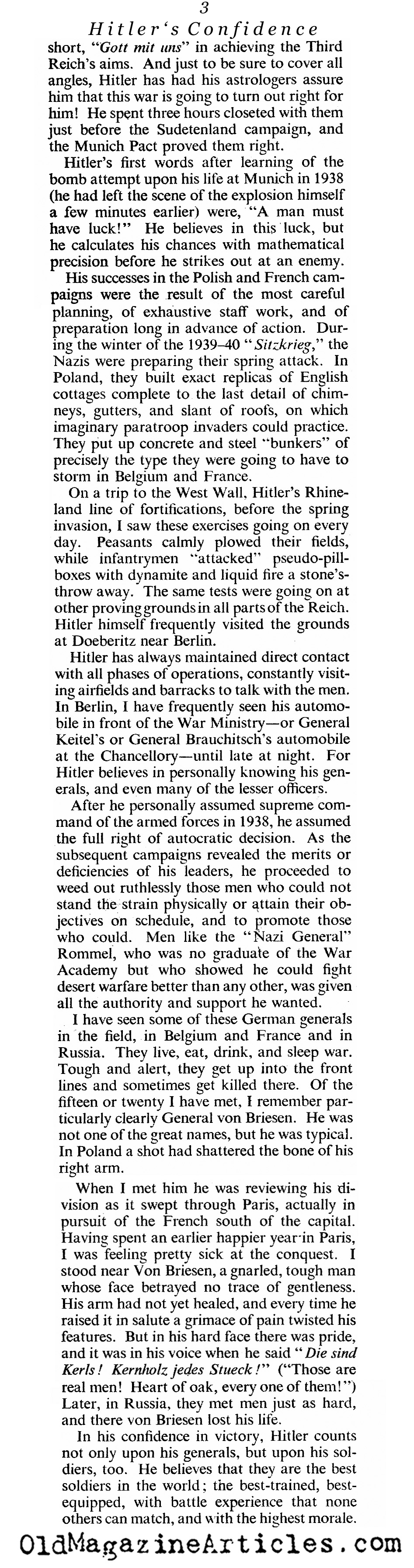 ''Why Hitler Thinks He'll Win'' (The American Magazine, 1942)