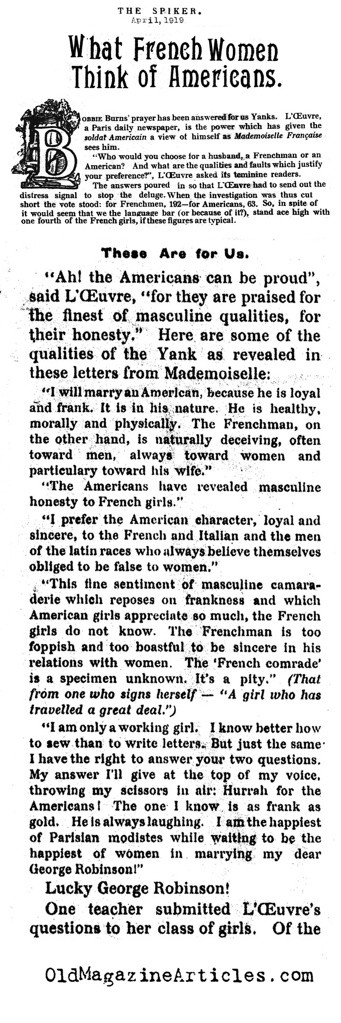 French Women and American Soldiers   (The Spiker, 1919)