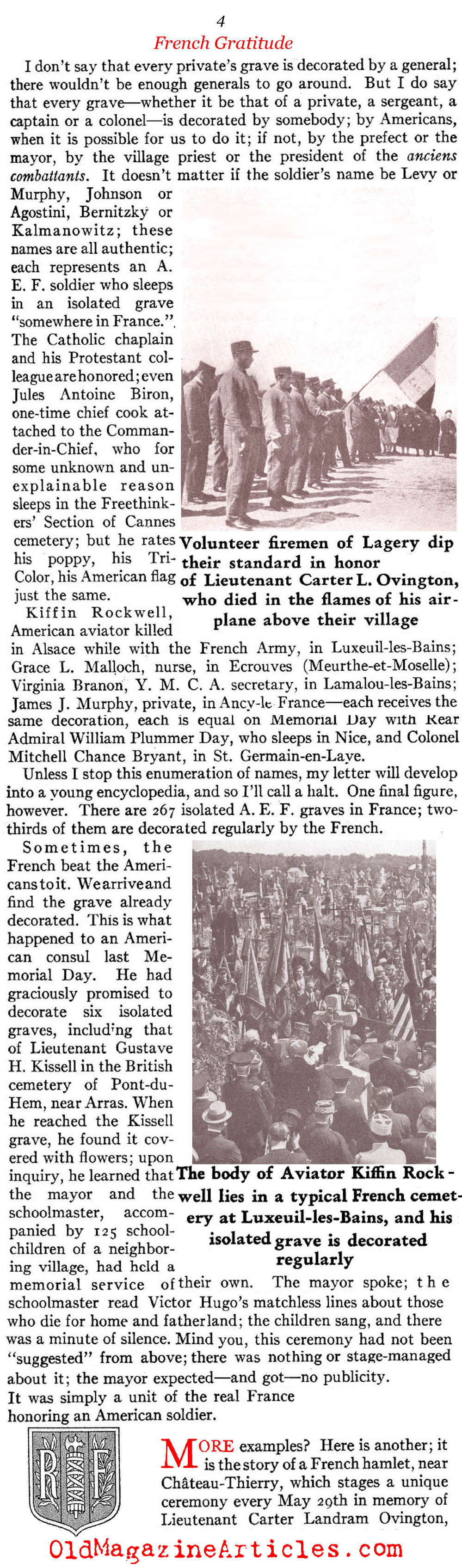 ''Thanks, America'': A French Expression of Gratitude (American Legion Monthly, 1936)
