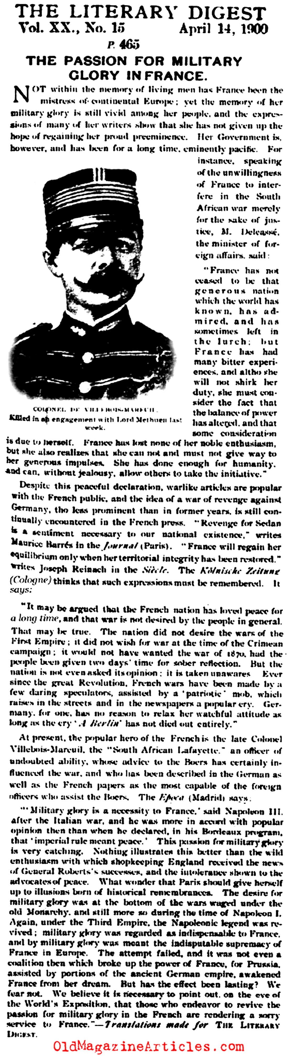 The Need for French Military Glory (Literary Digest, 1900)