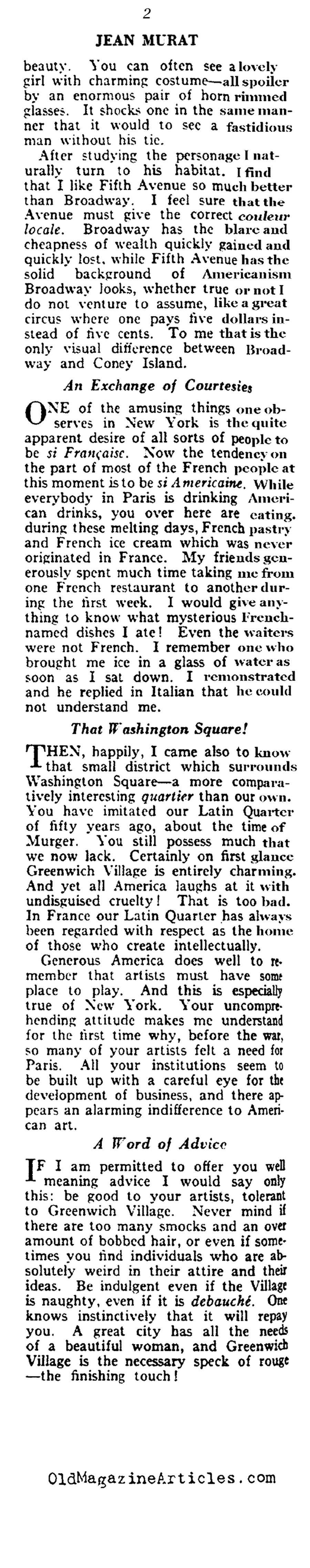 A Frenchman Looks at New York (Vanity Fair Magazine, 1919)
