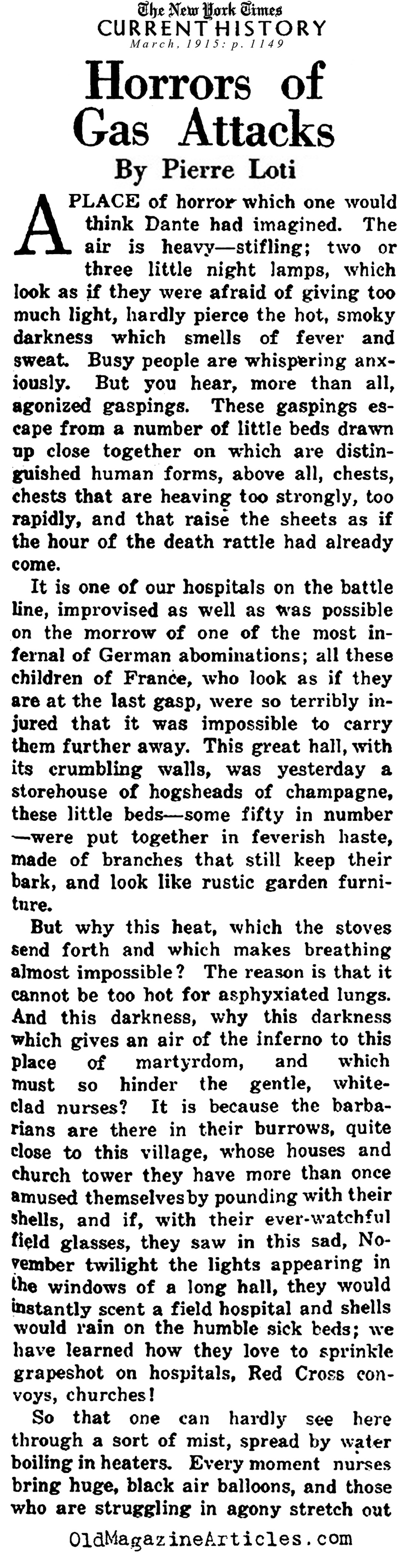 Gas Attack Horrors (NY Times, 1915)