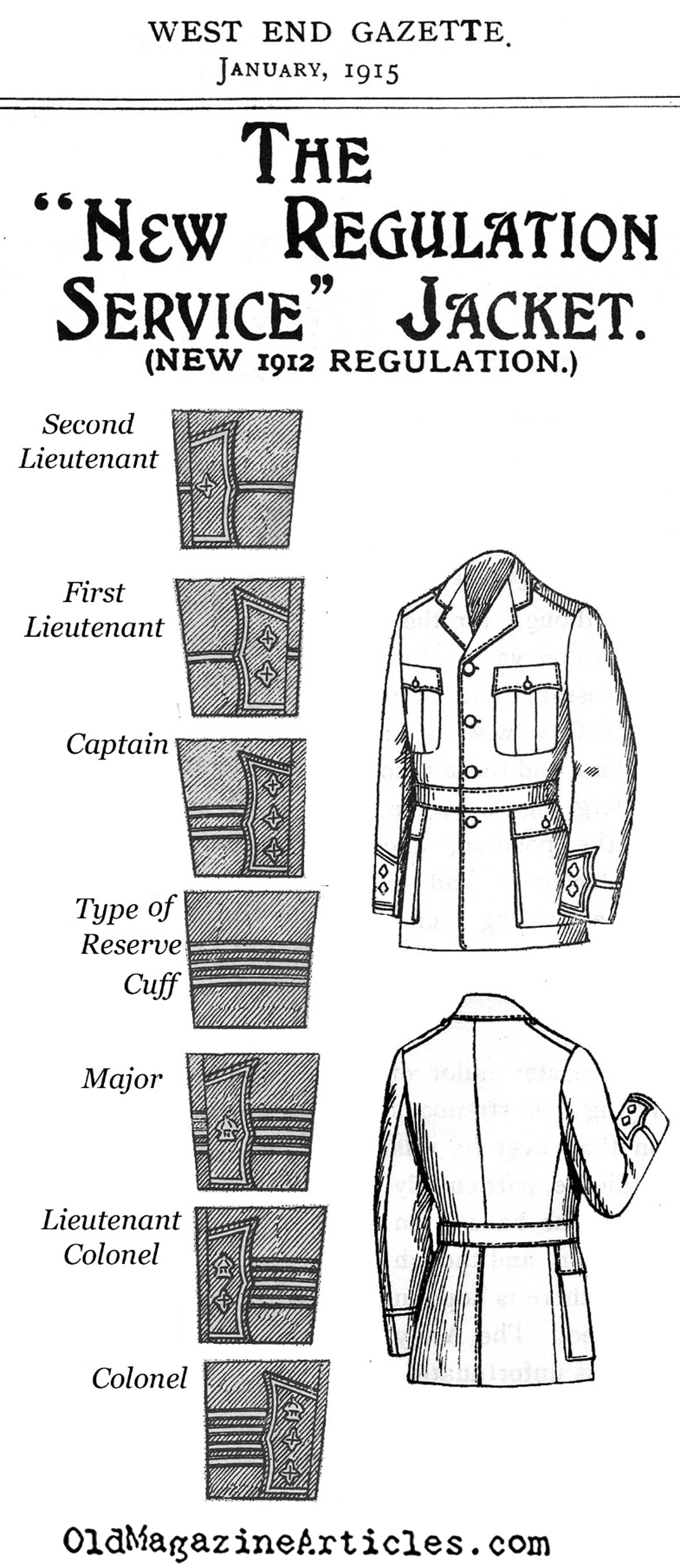 The British 1912 Officer Jacket (West End Gazette, 1915)