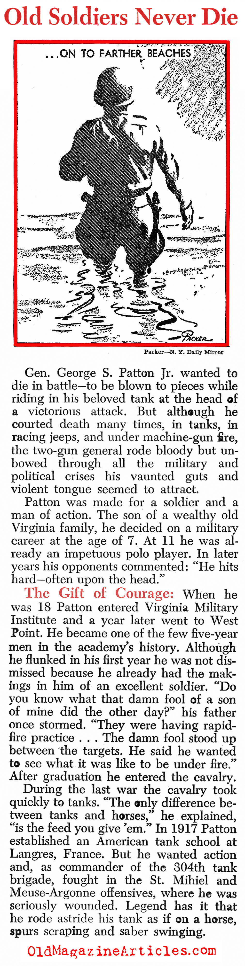 Ol' Blood 'N Guts Goes South (Newsweek, 1945)