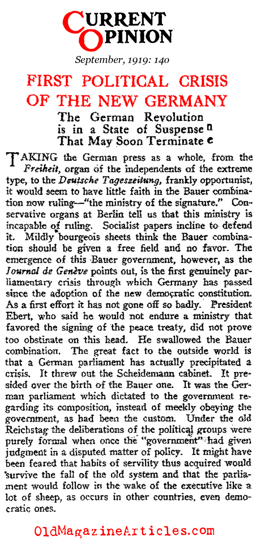 The Political Crisis in Post-War Germany (Current Opinion Magazine, 1919)