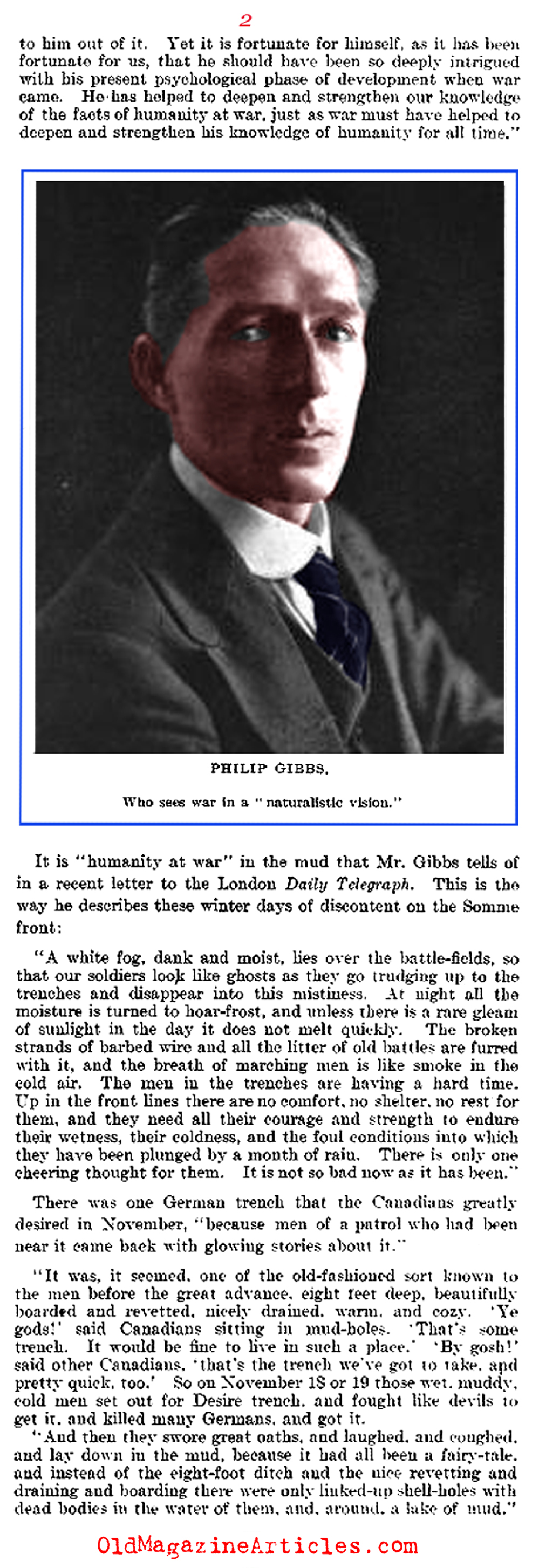 A Tribute to Philip Gibbs:  War - Correspondent (The Literary Digest, 1917)
