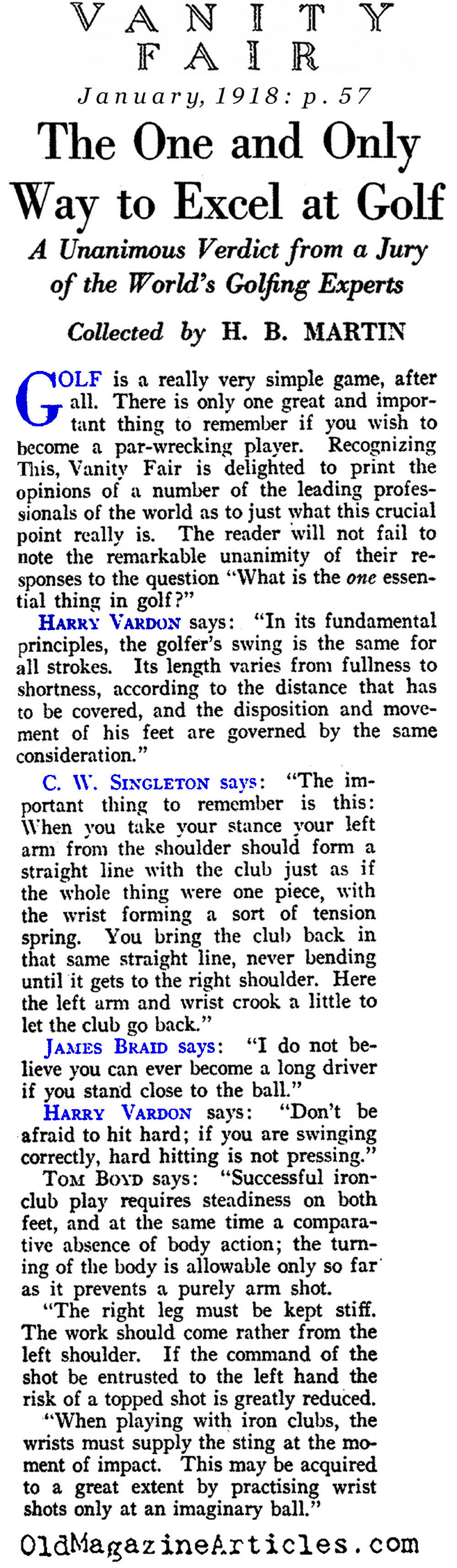The One Essential Thing in Golf (Vanity Fair Magazine, 1918)