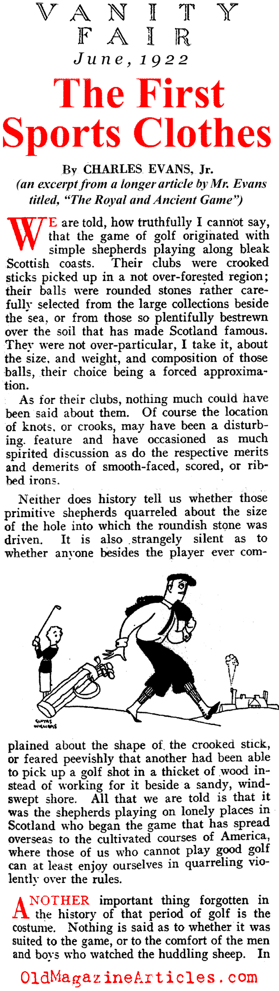 The Evolution of  Golf Clothes (Vanity Fair Magazine, 1922)