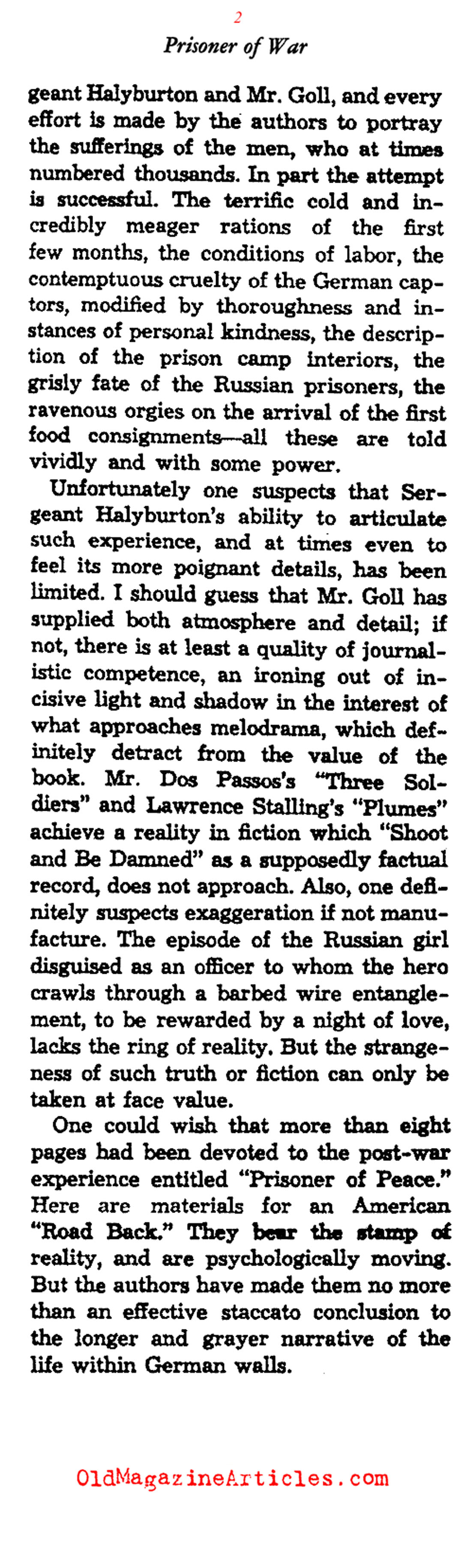 Prisoner of War (Saturday Review of Literature, 1932)