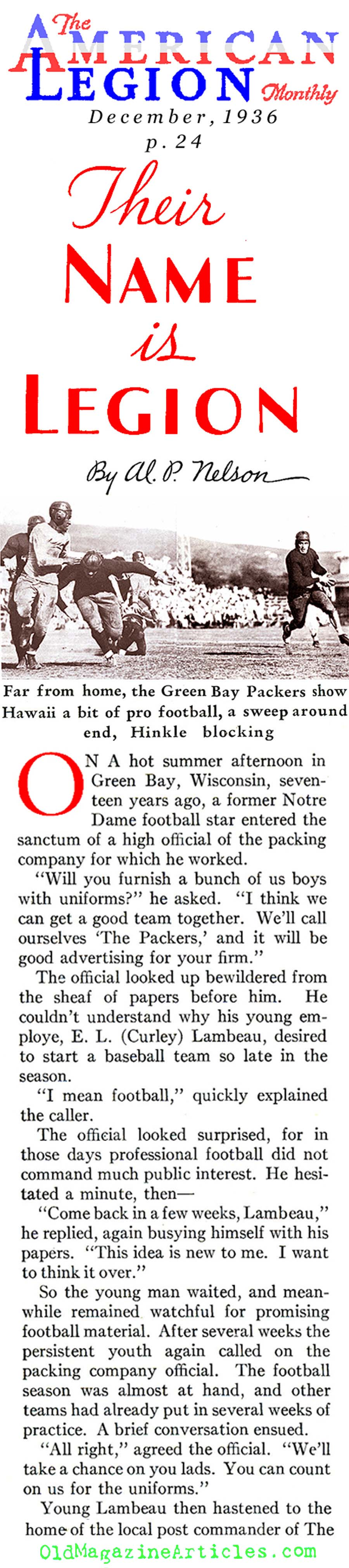 The Birth of the Green Bay Packers (American Legion Monthly, 1936)