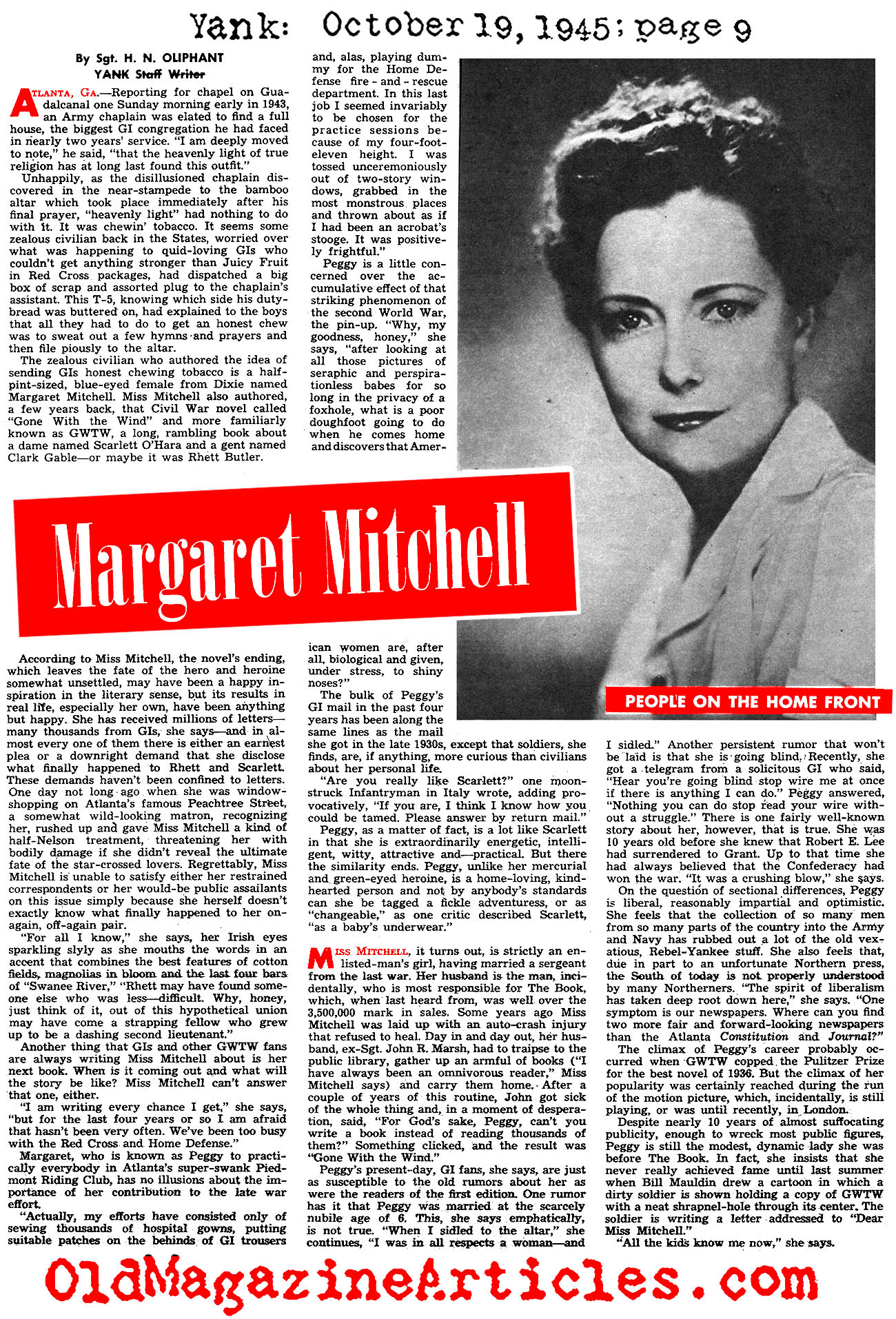 An Interview with Margaret Mitchell (Yank Magazine, 1945)