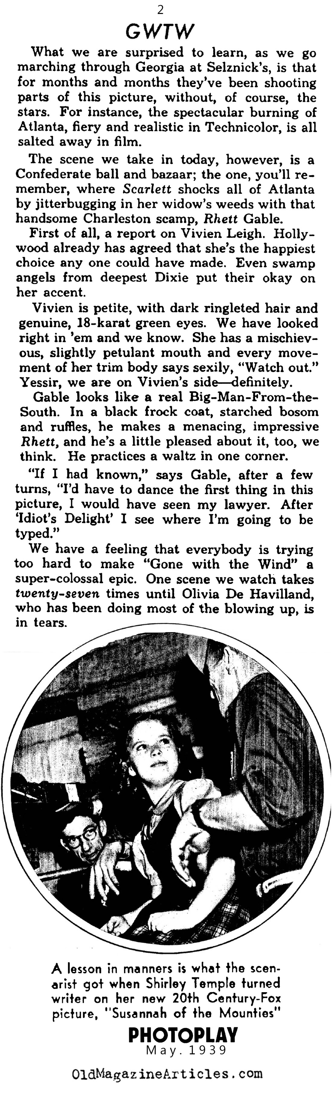 Gone with Wind Begins Shooting (Photoplay Magazine, 1939)