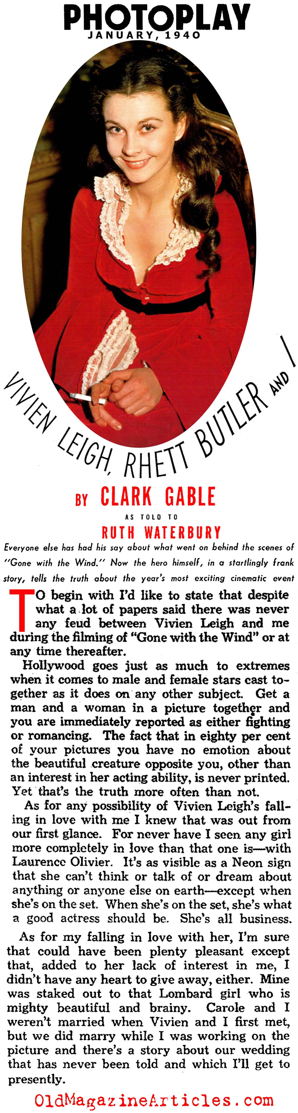Behind the Scenes with Clark Gable... (Photoplay Magazine, 1940)