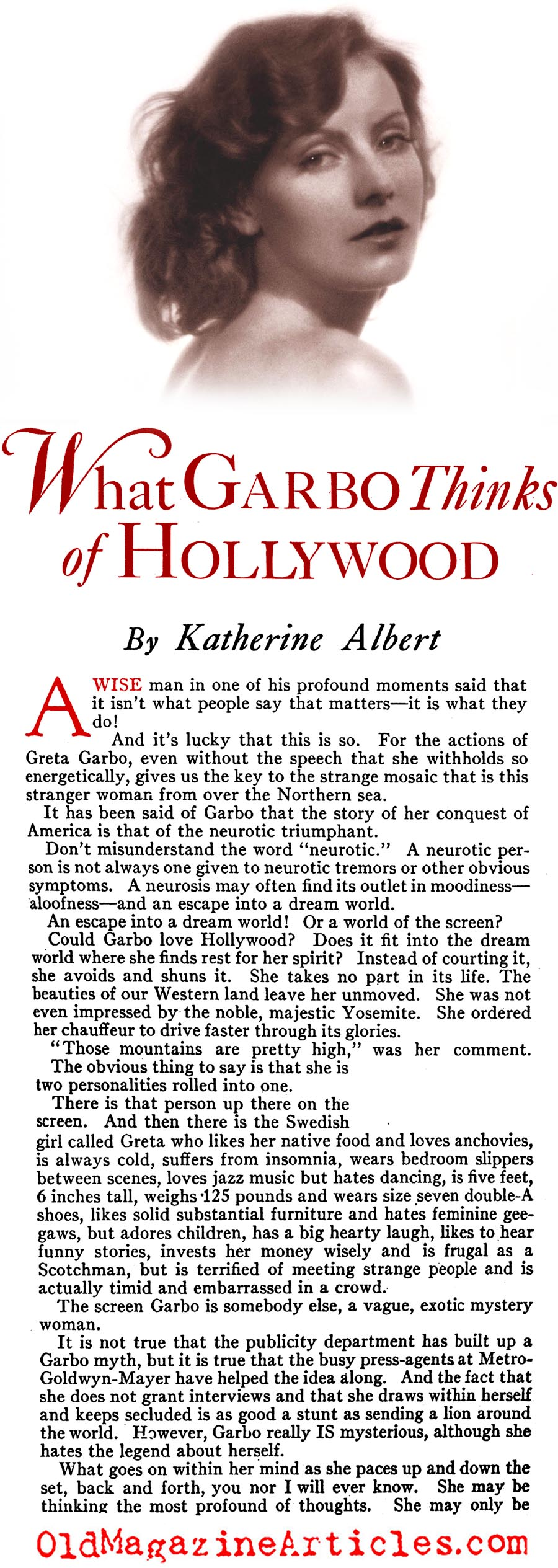 Greta Garbo's First Impressions of Hollywood (Photoplay Magazine, 1930)