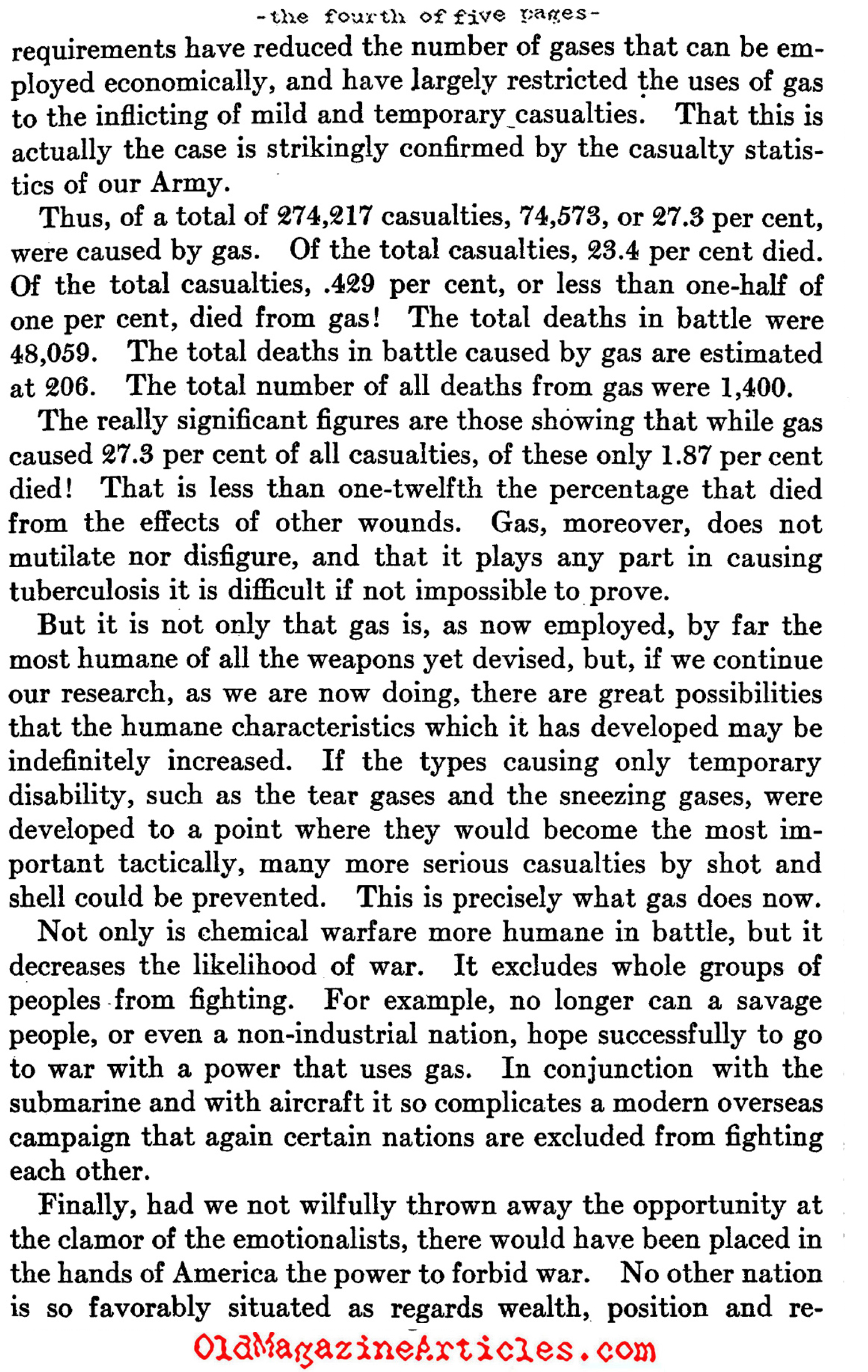 Chemical War (The North American Review, 1922)