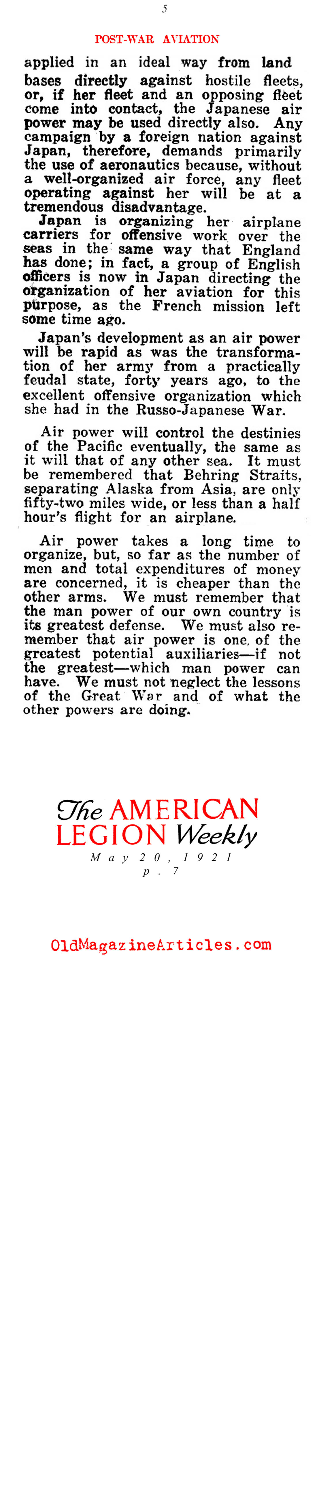 General Billy Mitchell:  Advocate of  American Airpower (American Legion Weekly,1921)