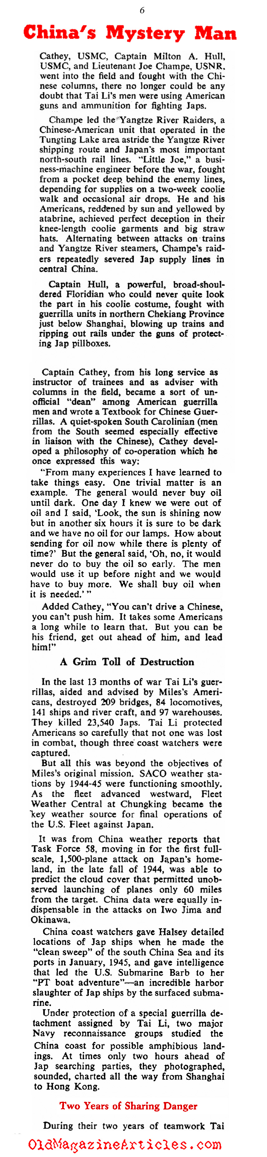 General Dai Li: ''The Himmler of The East (Collier's, 1946)