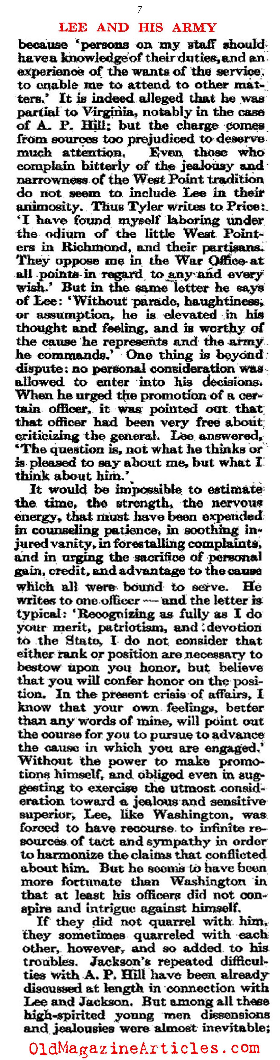 General Lee's Unique Bond with his Army  (Atlantic Monthly, 1911)