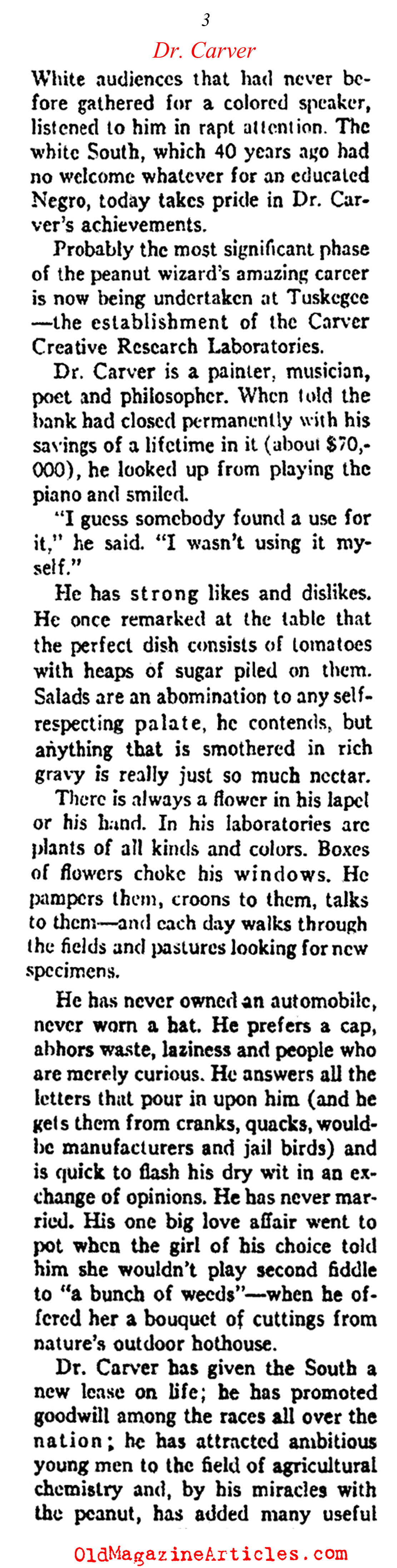 An Interview with Dr. George Washington Carver (Ken Magazine, 1938)