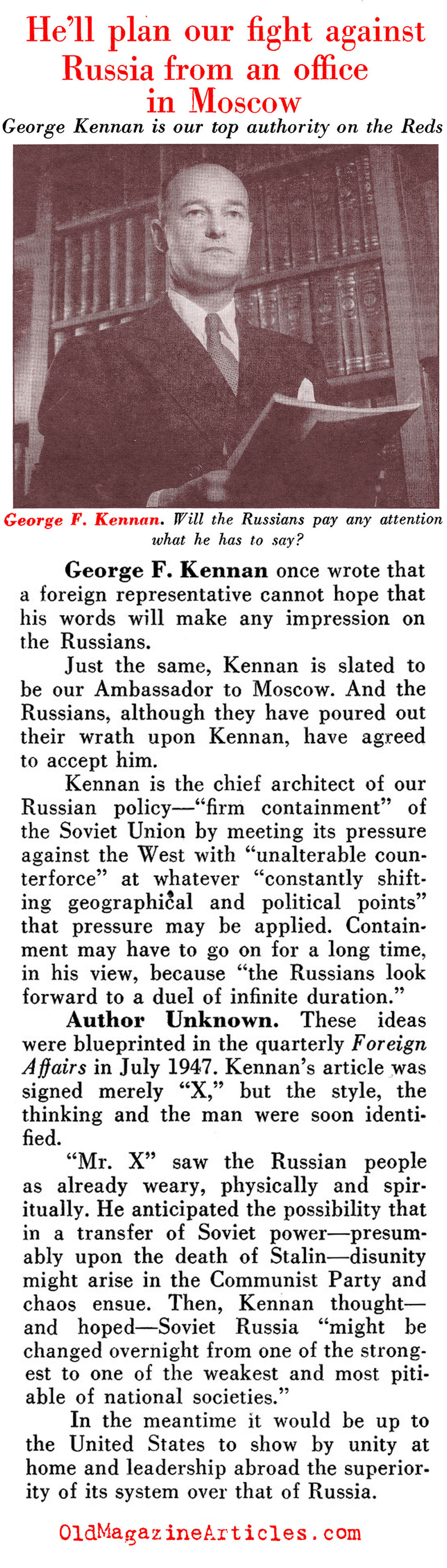George F. Kennan: Mr. X (Pathfinder Magazine, 1949)