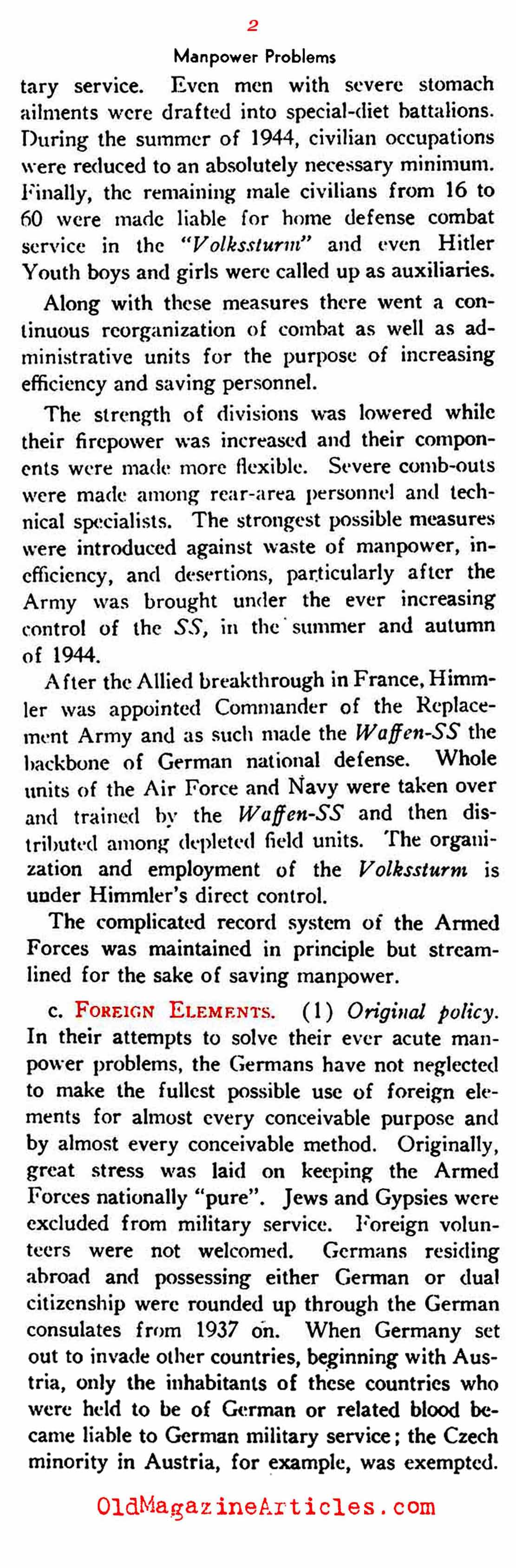 The German Draft and Manpower Supply  (U.S. Dept. of War, 1945)