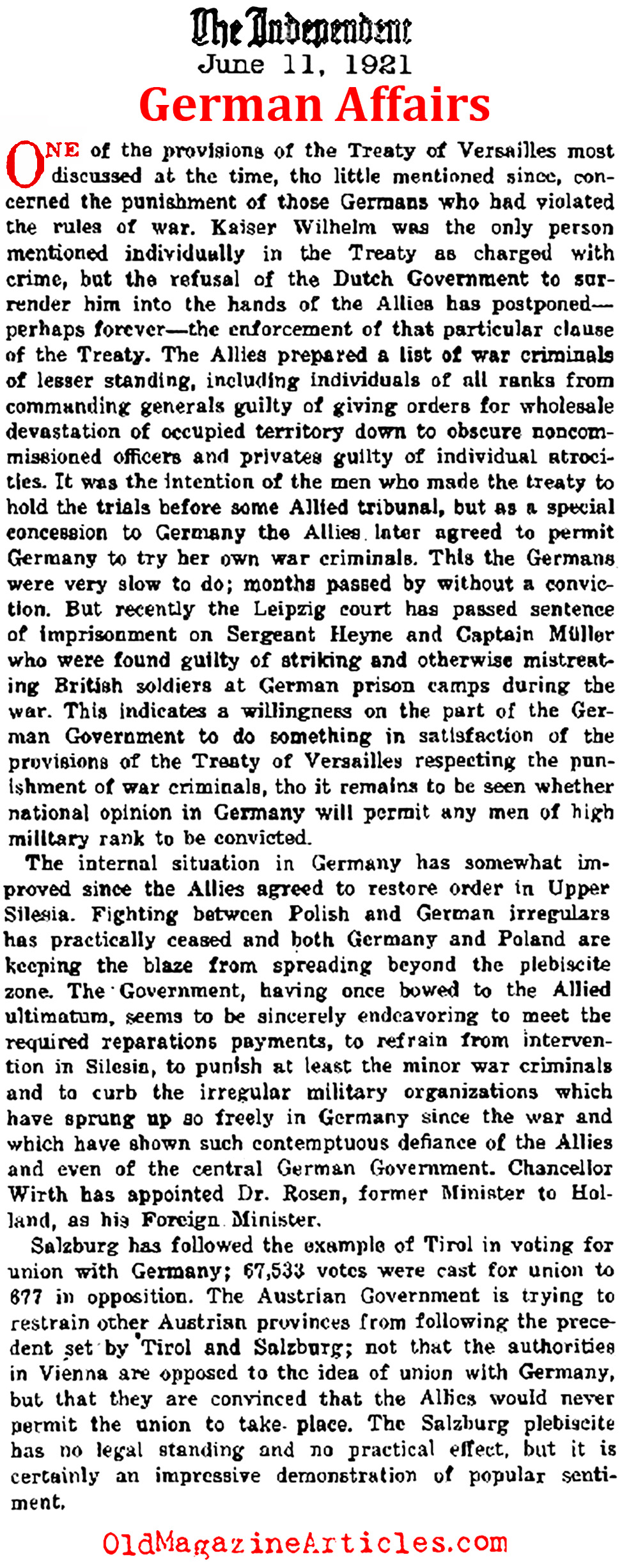 a listed report on the treaty of versailles and the resulting effects on germany Germany, austria-hungary and the impression was profound, resulting in new a year later, that the treaty of versailles was too harsh on them.