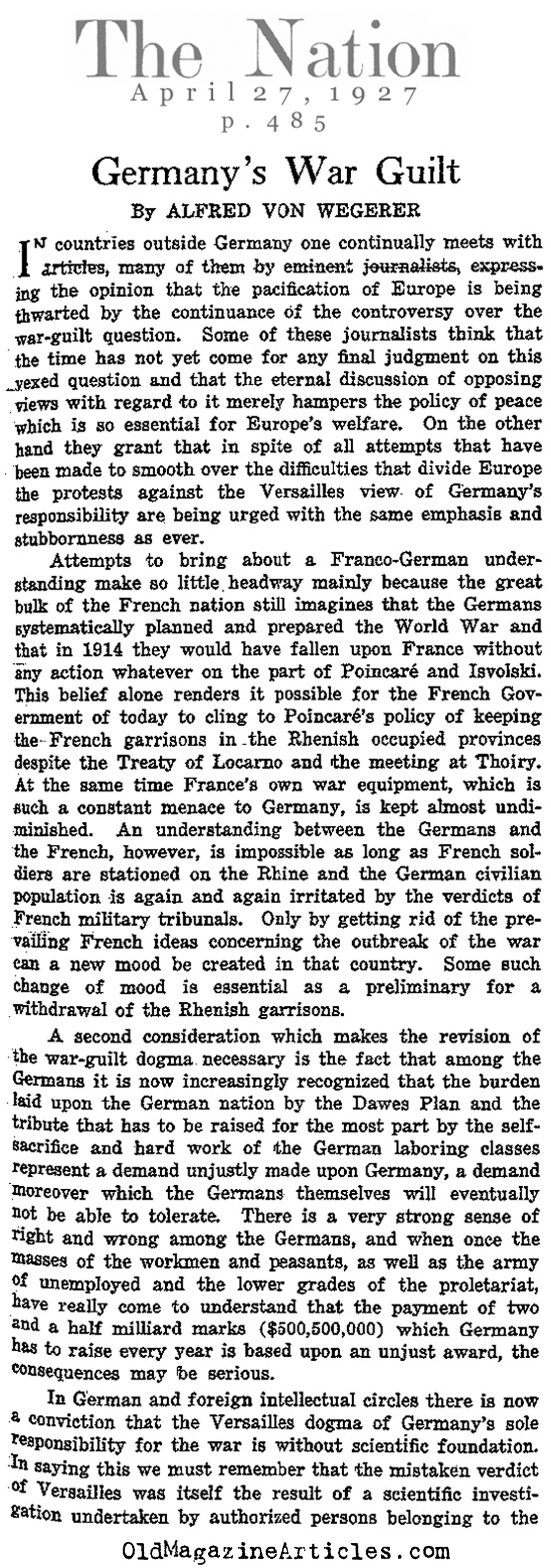 Questioning German War Guilt (The Nation, 1927)