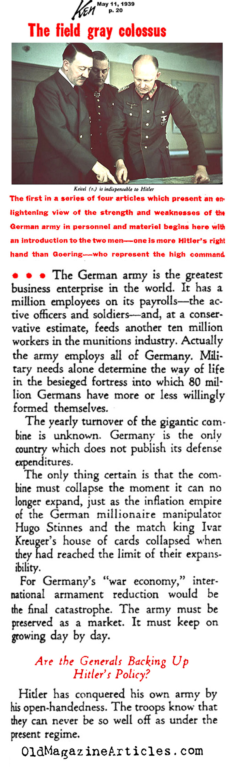 Military Buildup in Germany (Ken Magazine, 1939)