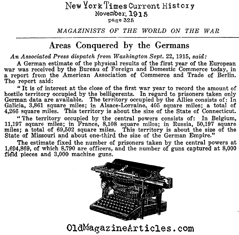 The Ground Taken by the German Armies  (NY Times, 1915)