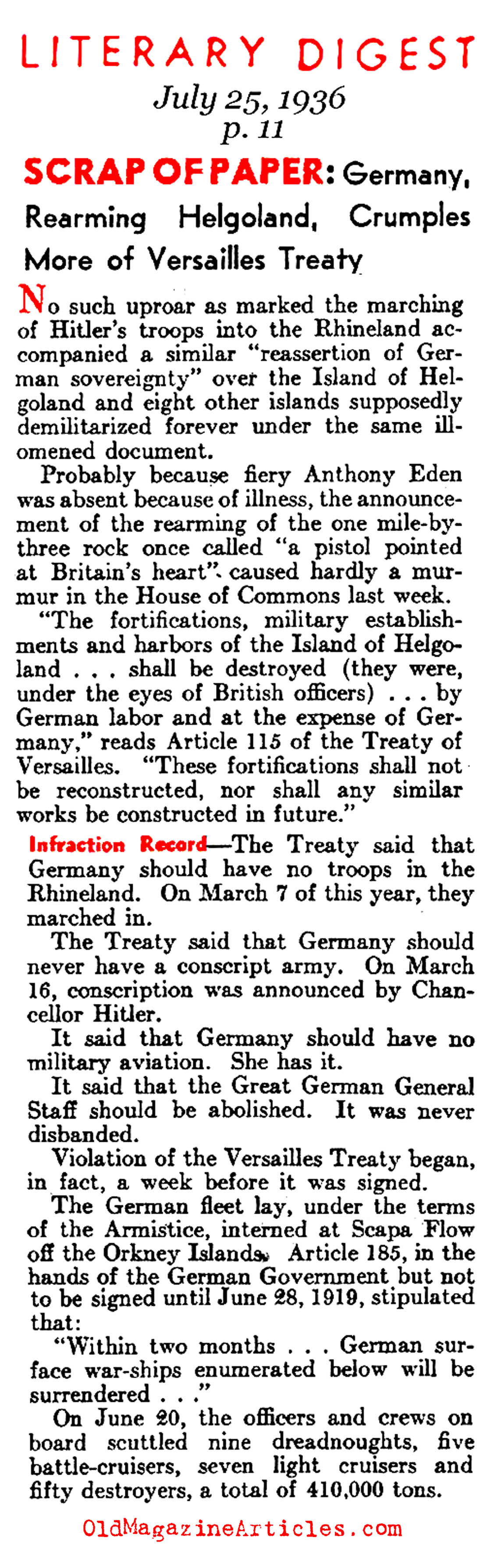 Versailles Treaty Violations (Literary Digest, 1936)