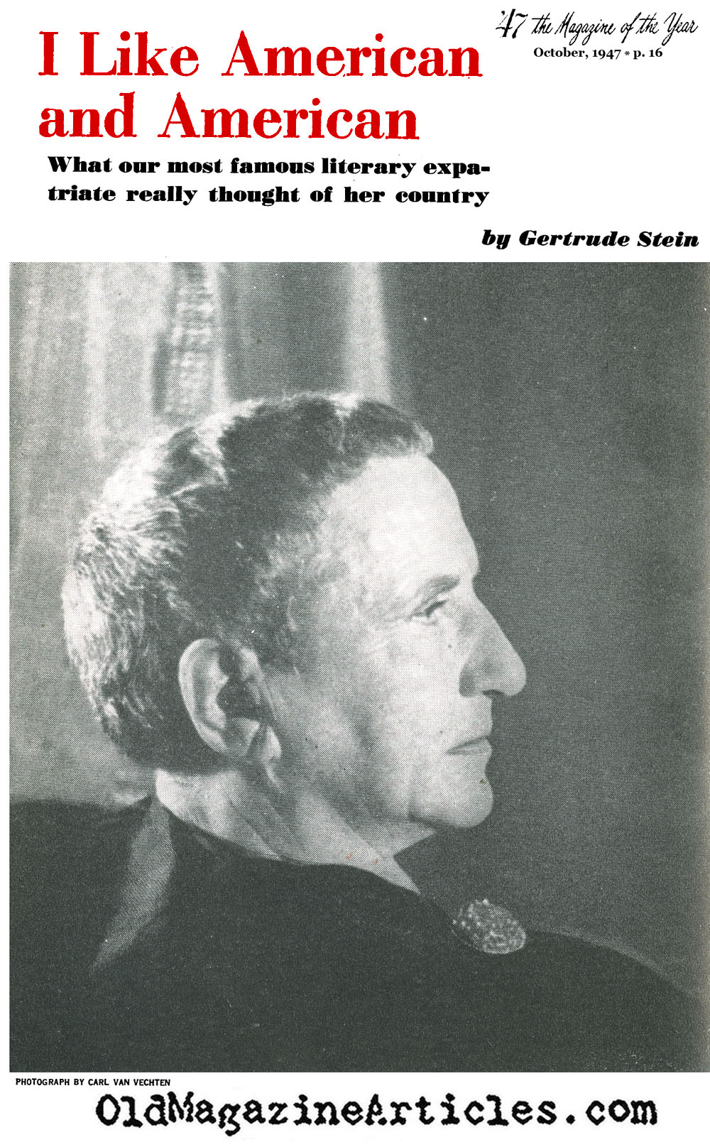 Gertrude Stein on America ('47 Magazine, 1947)
