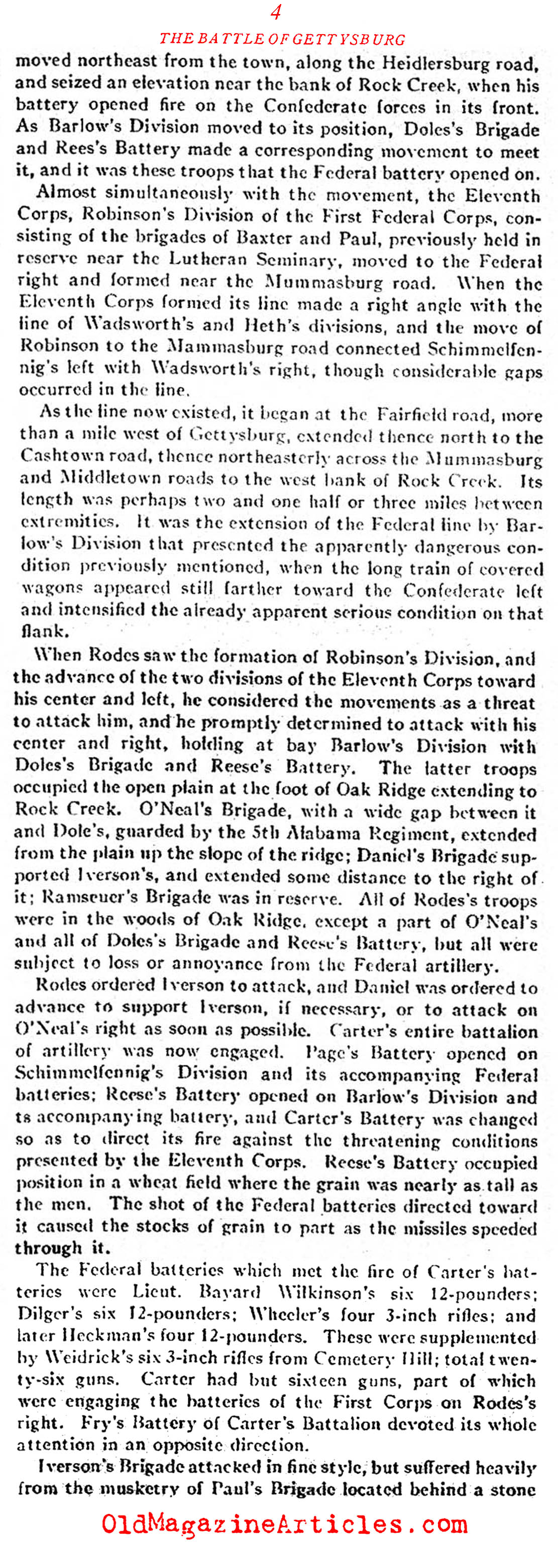 The Confederate Error on the First Day (Confederate Veteran Magazine, 1923)